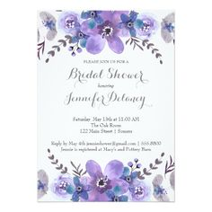Purple and Silver Watercolor Floral Wedding Shower