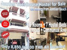 Pattaya Jomtien 9 Room Hostel located 150 meters from Jomtien beach, 10 minutes' drive to Walking Street, near busy areas but still very quiet, cul-de sac soi, parking in front, ground floor have office with studio, further 6 rooms plus 7 hostel beds, Jacuzzi plus large communal space upstairs, permanent income ensured, price for this hostel is 10,850000.00 THB. Call 0800176100 or look here for details: http://www.hotelsforsalethailand.net/pattaya-jomtien-9-room-hostel-with-permanent-income/