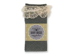 Charcoal Checkered Socks with Lace - Jodi's Accessories