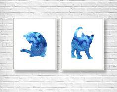 Cats Nursery Art Nursery Cats Prints Baby Cats Prints Childrens Art Blue Cats Room Wall Art Watercolors Pet Prints Art Printable Digital Cat