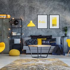 Photo about Table on black and white carpet in hygge style living room with designer yellow chair. Image of metal, color, interior - 100831577 Blue And Yellow Living Room, Living Room Grey, Living Room Decor, Yellow Gray Room, Hipster Living Rooms, Black And White Carpet, Room Decor For Teen Girls, Wabi Sabi, Interior Design