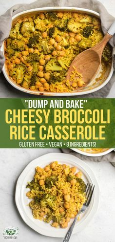 This Cheesy Broccoli Rice Casserole is Gluten-Free, Dairy-Free, and made with on. - This Cheesy Broccoli Rice Casserole is Gluten-Free, Dairy-Free, and made with only 8 healthy ingred - Cheesy Broccoli Rice Casserole, Vegan Casserole, Casserole Recipes, Gluten Free Casserole, Rice Recipes For Dinner, Whole Food Recipes, Cooking Recipes, Vegan Recipes With Rice, Thanksgiving Casserole