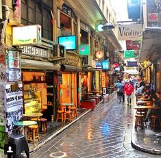 Degrave street Melbourne. --- When I lived in Melbourne, this was one of my 'go to' places, especially on Saturday. There were some great Cafe's. :D And I didn't care if it was raining! I like rain. :)