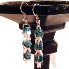 Sequin Earrings, Dangle Earrings, Hook Earrings, Women's Earrings, Earrings for Women, Blue & White Earrings, Sparkling Earrings by DivinitysDivineTouch on Etsy