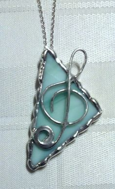 Stained Glass Jewelry Pendant Music Treble by LighthouseAllure, $15.00