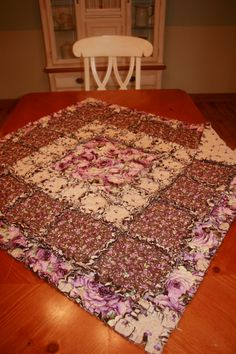 Rag Quilt Table Topper by mpeechatka on Etsy, via Etsy.