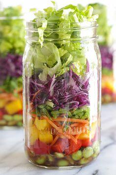 Asian Chopped Salad with Sesame Soy Vinaigrette (In a Jar) | Skinnytaste.com | Bloglovin'