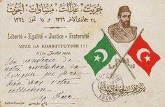 Jön Türk İhtilali ve Kanun-i Esasi Hatıra Kartpostalı, 1908 (the card of Young Turks revolution)