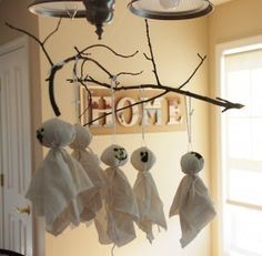 tree branch ghost mobile halloween decoration