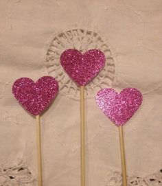 Hot Pink Glitter Heart  Cupcake Cake Toppers  by TypeWright