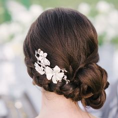 wedding hairstyle- Plait and side bun