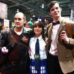 Pin for Later: 27 Wonderful Doctor Who Costume Ideas For Whovians Nine, TARDIS, and Eleven At the Calgary Expo, this cute TARDIS found herself in between two clever Doctors. Source: Instagram user brennanfightscrime