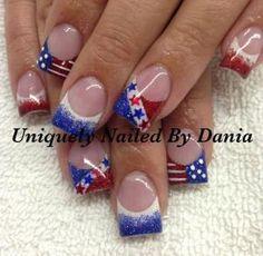 patriotic nails — of July nails Fingernail Designs, Toe Nail Designs, Acrylic Nail Designs, Pedicure Designs, Nails Design, Pedicure Ideas, Nail Ideas, Seasonal Nails, Holiday Nails