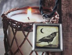 Once Upon A Midnight Dreary   Black Raven Pendant Necklace by OceanaireDreamer on Etsy