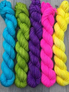 Sparkle Mini Skein Bright Set of 5 Hand Dyed by UniqueSapphire