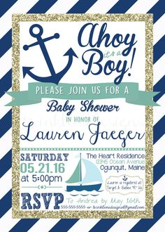 Nautical Baby Boy Shower Invite 5x7 Digital by TwinkleMeDesigns