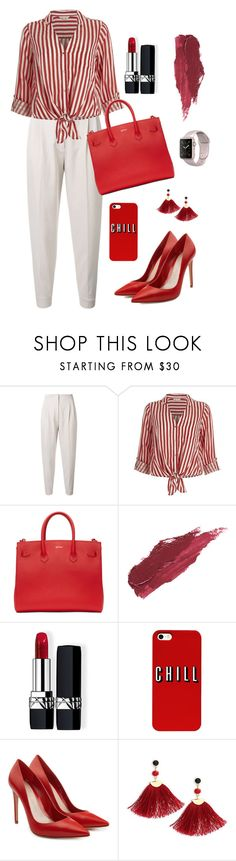 """""""Untitled #1809"""" by ebramos ❤ liked on Polyvore featuring MaxMara, River Island, Off-White, Lily Lolo, Christian Dior, Alexander McQueen and Shashi"""