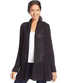 NY Collection Petite Combo-Knit Fan Cardigan - Sweaters - Women - Macy's