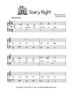 Scary Night: Halloween song for piano, free printable. Scary Night: Halloween song for piano, free printable. Piano Songs, Piano Sheet Music, Violin Lessons, Music Lessons, Piano Classes, Halloween Songs, Piano Recital, Piano Teaching, Learning Piano