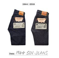 Two of a kind. On the left is a pair of unworn 1944 501 Jeans, housed in our archive in San Francisco. On the right is our Levi's Vintage Clothing stitch for stitch reproduction.