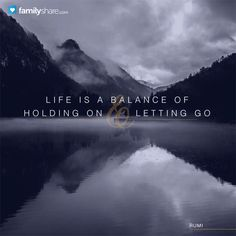 Life is a balance of holding on and letting go. - Rumi