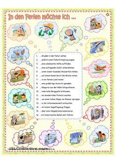 In den Ferien möchte ich. Deutsch A2, Adjectives For Kids, German Grammar, German Language Learning, World Languages, Learn German, Thing 1, Teaching Materials, Student Gifts