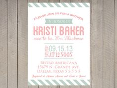 Vintage Bridal Shower Invitation Mint Green and by DesignOnPaper, $16.00