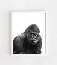 Gorilla Print Animal Prints Printable Art Gorilla Picture Printable Art, Printables, Kids Room Wall Art, Animal Prints, Monkey, Handmade Gifts, Pictures, Animals, Etsy
