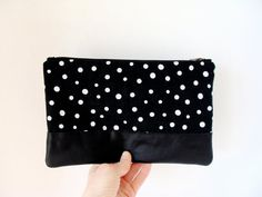 Polka Dots Zip Clutch Bridesmaid Clutch by MilkhausDesign on Etsy, $42.00