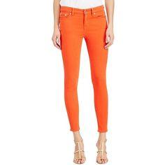 Lauren Ralph Lauren Five-Pocket Skinny Jeans ($67) ❤ liked on Polyvore featuring jeans, orange, zipper skinny jeans, leather patch jeans, high rise skinny jeans, orange skinny jeans and zipper jeans