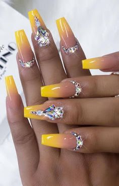 Cute and Beauty Ombre Nail Design ideas for This Year 2019 Part 6 Cute and Beauty Ombre Nail Design ideas for This Year 2019 Part ombre nails french; Rhinestone Nails, Bling Nails, Bling Nail Art, Nail Art Rhinestones, French Nails, Nail Swag, Glue On Nails, Fun Nails, Edgy Nails