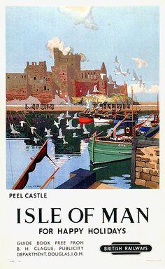 Isle of Man for happy holidays - Peel Castle - British railways - 1949 - (Charles Pears)