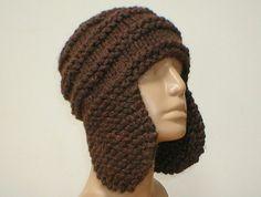 a4879c7f67517f Men's brown knit ear flap hat, aviator cap, trapper hat, knit hat, wood  brown hat, knit winter hat, women's hat, snowboard, chemo cap, toque