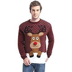 Matlani Ugly Funny Christmas Sweatshirt Men Women Reindeer 3D Printed Sweater Xmas Gift