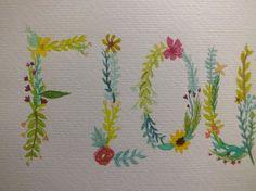 Broche de oro pintado a mano flores Letras por EvergreenStateOfMind