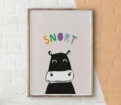 Safari Nursery Print, Safari Nursery Decor, Boys Room Wall Art, Kids Large Nursery Poster, Hippo Print, African Animal Printable, Download by YoYoStudio