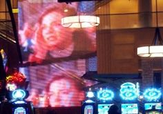 Custom wire mesh screen holds LED light ribbons that display clear video across the casino floor.