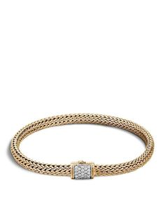 John Hardy Classic Chain 18K Gold and Diamond Pavé Extra Small Bracelet