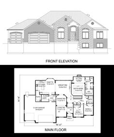 1000 images about one story house plans on pinterest 3 for Rambler house plans with 3 car garage