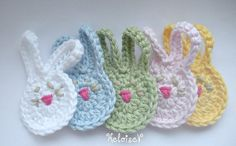 Crochet Pattern Easter Bunny Rabbit Applique by HeloiseV on Etsy, $3.75