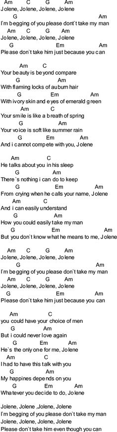 jolene chords | download the song in PDF format for printout etc.