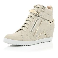 Grey studded wedged high top trainers - plimsolls / trainers - shoes / boots - women
