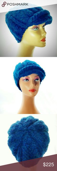 Rare Euginia Kim Baby Alpaca Knit Newsboy Cap Rare Euginia Kim Bright Blue Baby Alpaca Knit Newsboy Cap. A soft, cable-knit Eugenia Kim handmade ribbed newsboy cap. 100% baby alpaca. Amazing mix of azure, turquoise and zaffre blues create an unbelievably beautiful color way. Extremely rare. One of her earliest designs. In excellent condition. No size label, but best suited for a small-medium head size. Eugenia Kim Accessories Hats