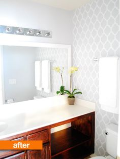 Before & After: A Moroccan Stenciled Bathroom. @Apartment Therapy
