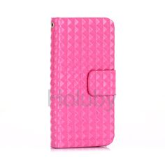 Rivet Pattern Glossy Wallet Magnetic Flip Stand TPU + PU Leather Case for iPhone 5 5S Pink