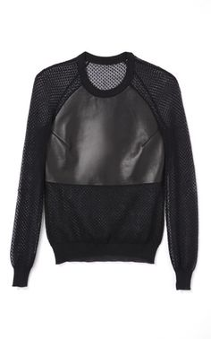 Ss Leather Panel Woven Knit