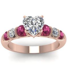 Heart Shaped Diamond Milgrain Ring With Pink Sapphire In 14k Rose Gold...I would want to replace the sapphires with Aqua Marines and wrap it white gold