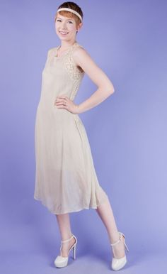 I. NEED. THIS.  ANTIQUE WHITE Vtg 20s LACE+Sheer SILK CHIFFON Cream FLAPPER DRESS XS/S #vintage #antique