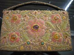 Vintage Beaded Jeweled Floral Clutch Purse Bag Zardosi Zardozi