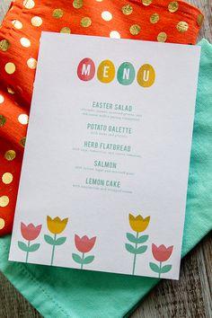 Printable Easter Menus by Sarah Hearts Easter Dinner, Easter Table, Easter Brunch, Easter Party, Free Printable Menu Template, Menu Template Word, Free Printables, Menu Templates, Easter Salad